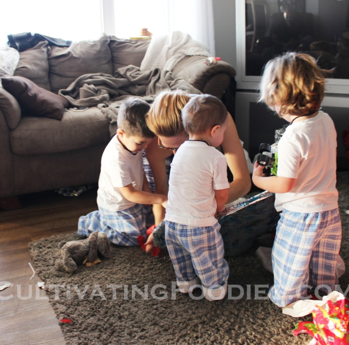 Jo and Boys opening presents wm